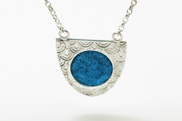 Sterling Silver necklace with fish scale etching and a Blue Harris Tweed