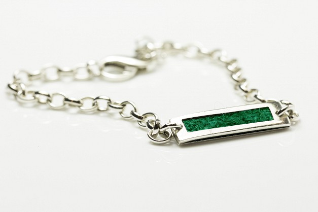 Sterling silver Bracelet with Green Harris Tweed