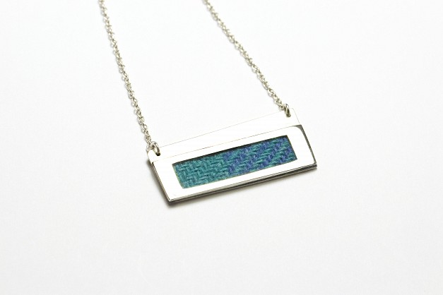 Sterling Silver Necklace with turquoise and blue Harris Tweed- 65x22mm - 18 inch chain
