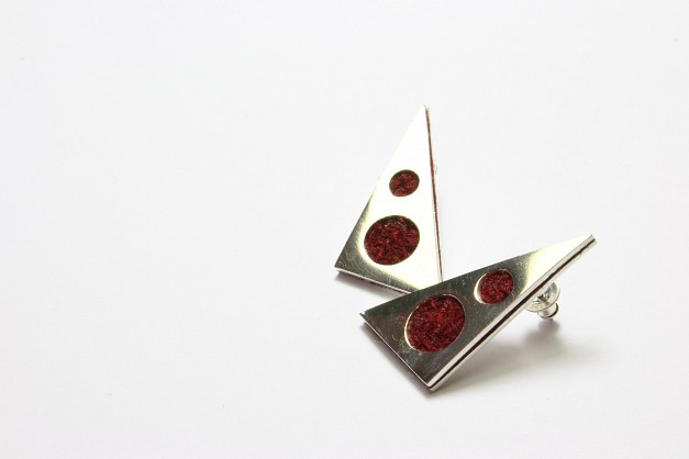 Sterling Silver with Maroon Harris Tweed