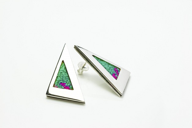 Sterling Silver earrings with turquoise and pink Harris Tweed