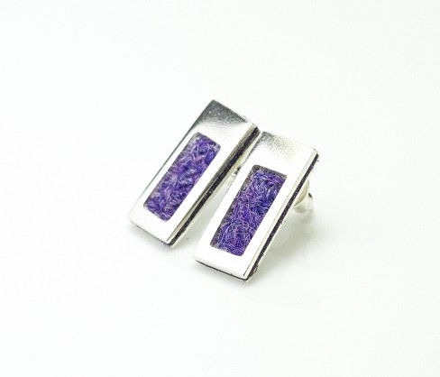 Sterling silver rectangular Earring with Purple Harris Tweed