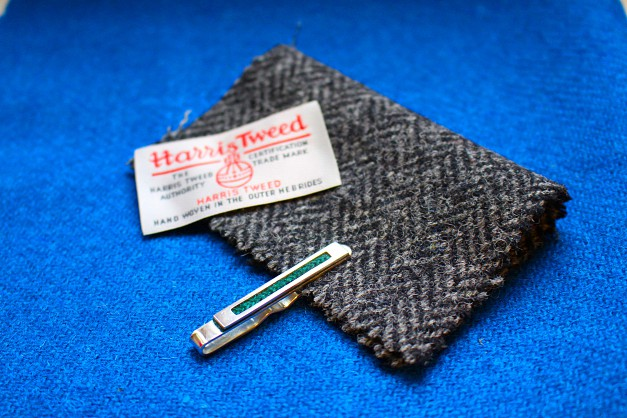 Sterling Silver tie slide with Harris Tweed