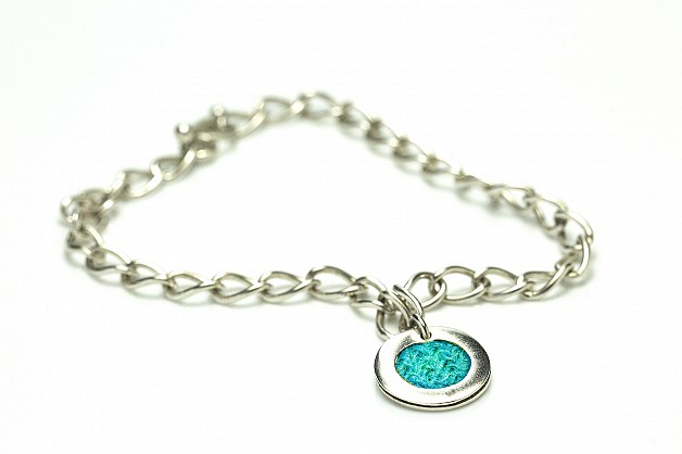 Sterling Silver with Turquoise Harris Tweed